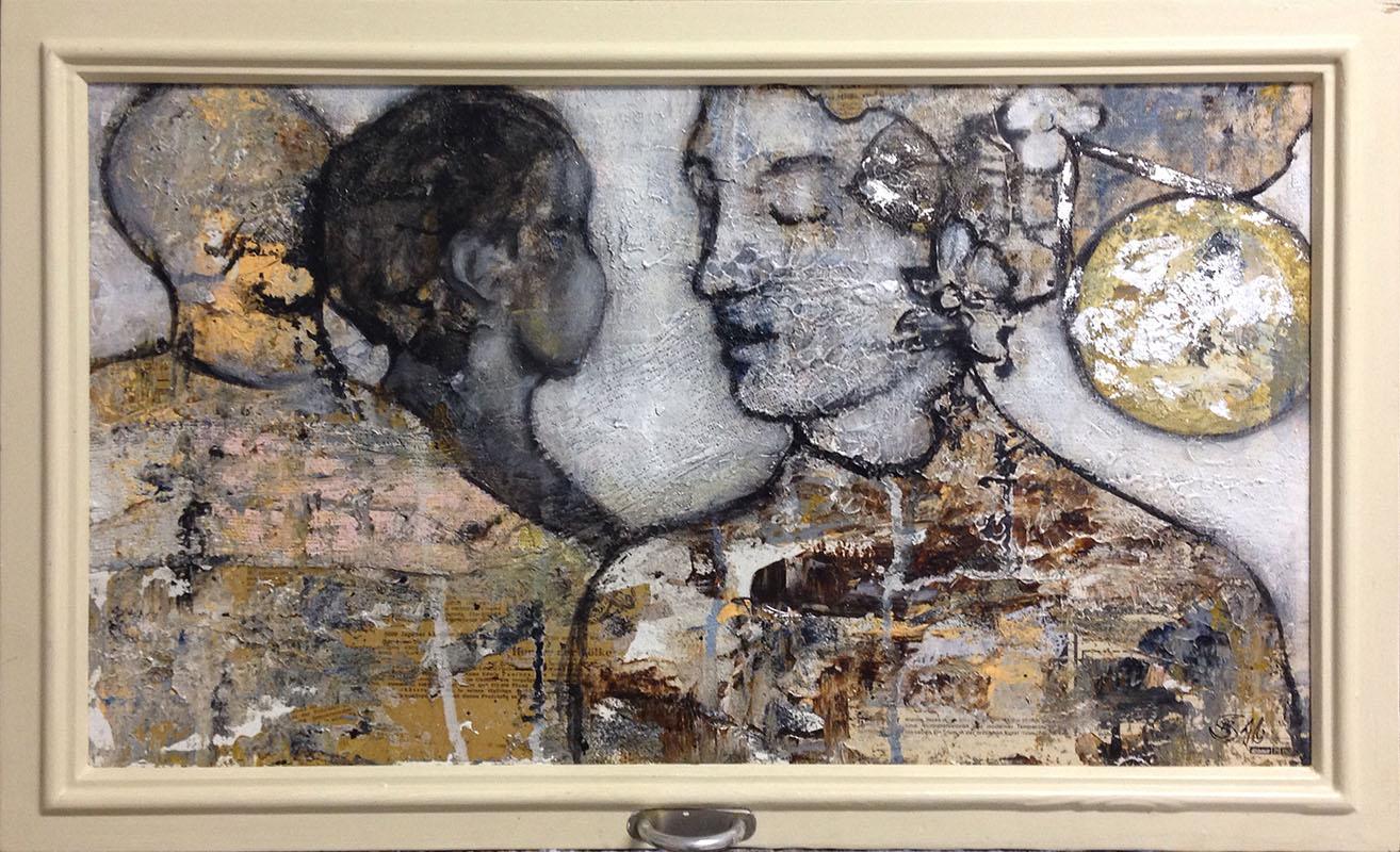 'Bewegte Begegnung' Acryl/Mischtechnik im Fensterrahmen - Annemarie Seidel - artelier41