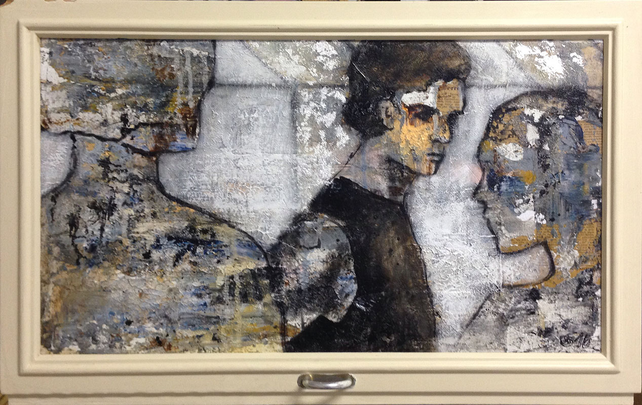 'Mittelpunkt' Acryl Mischtechnik im Fensterrahmen - Annemarie Seidel - artelier41