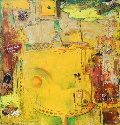 Acryl auf Leinwand - 'Reisefieber' - 70 x 70 cm - Annemarie Seidel - artelier41