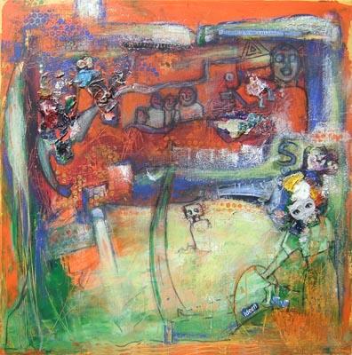 Acryl auf Leinwand - 'Unsichtbar' - 70 x 70 cmv