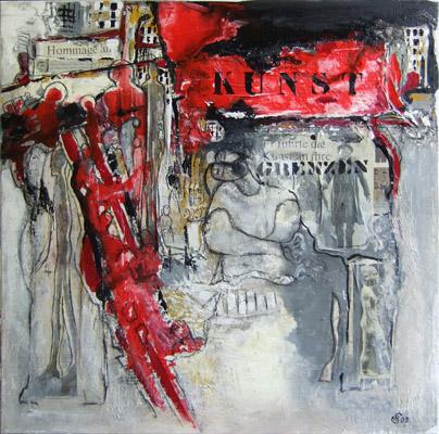 Acryl auf Leinwand - 'Hommage an die Kunst' - 70 x 70 cm - Annemarie Seidel - artelier41