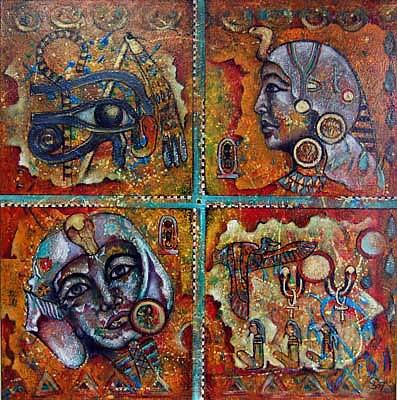Acryl auf Leinwand - 'Ägypten' - 100 x 100 cm - Annemarie Seidel - artelier41