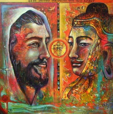 Acryl auf Leinwand - 'Annäherung der Religionen' - 100 x 100 cm - Annemarie Seidel - artelier41