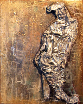 Seide / Acryl auf Leinwand - 'OFFENE ZWEIERBEZIEHUNG' - je 40 x 50 cm - Annemarie Seidel - artelier41
