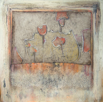 Acryl / Sand auf Leinwand - 'Flowers' - 100 x 100 cm - Annemarie Seidel - artelier41