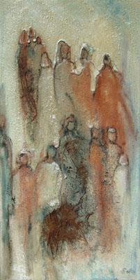 Acryl / Sand auf Leinwand - 'Menschen I' - 60 x 120 cm - Annemarie Seidel - artelier41