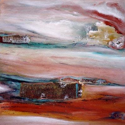 Acryl und Baumrinde auf Leinwand - 60 x 60 cm - Annemarie Seidel - artelier41