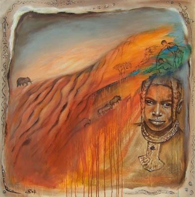 'Namibia' - Acryl auf Leinwand - 100 x 100 cm - Annemarie Seidel - artelier41