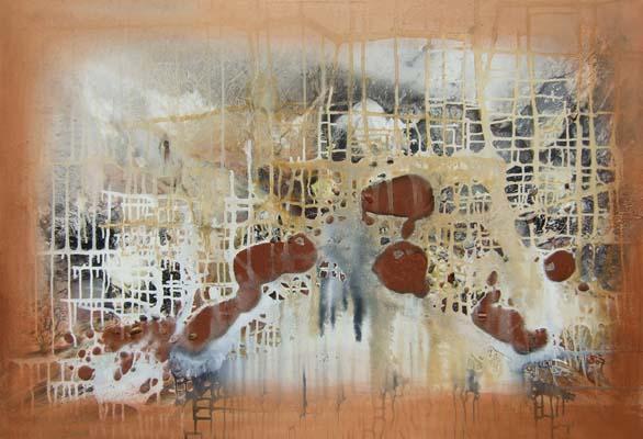 Acryl auf Leinwand - 'Netzwerk' - 120 x 80 cm - Annemarie Seidel - artelier41