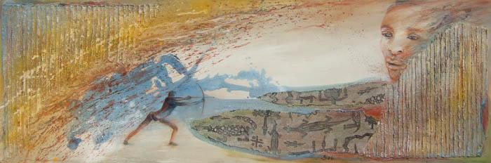 Acryl auf Leinwand Mischtechnik Sand - 'Südafrika' - 190 x 50 cm - Annemarie Seidel - artelier41