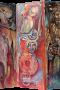 Paravent Sage: 'Karl der Große - Eginhard und Emma' Acryl / Collage auf Leinwand - 150 x 150 cm (3 x 50 x 150) - Annemarie Seidel - artelier41