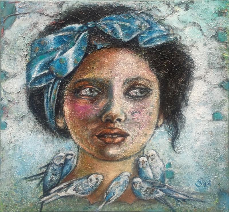 'Blaue Kette' - Acryl - 80 x 80 cm - Annemarie Seidel - artelier41