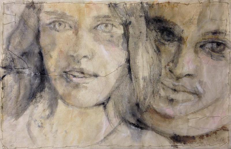 'Seelenverwandte' Acryl / GAZE auf geschöpftem Papier - Annemarie Seidel - artelier41