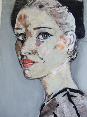 'Andrea' - Papier-Collage auf Leinwand - 80 x 100 cm - Annemarie Seidel - artelier41