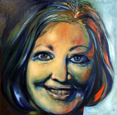 Selbstportrait - Öl auf Leinwand - 100 x 100 cm - Annemarie Seidel - artelier41