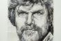 'Reinhold Messner' - Geschenk an Reinhold Messner - geschöpftes Papier auf Leinwand Acryl / Collage 80 x 100 cm - Annemarie Seidel - artelier41